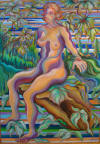 Nude in Nature, oil painting by artist Breda Voss, oil on canvas, 5' x 4'