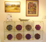 Gallery Wall ceramics by Travis Adams, Photo by Karen Asherah, Pastel Painting by Julie Hendriks,