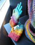 Colorful knit scarves & hand cozies by Sunny Johansson